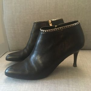 LK BENNETT 'Dusty' Black Leather Chain Ankle Boots